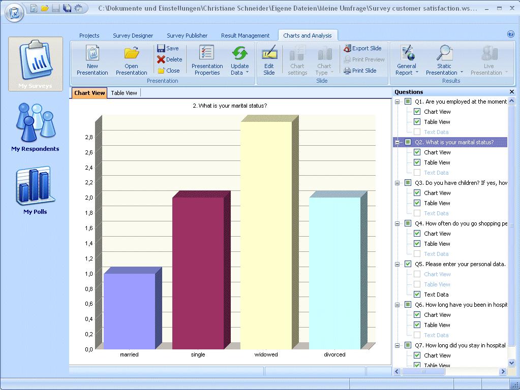 Business Management Software, WinSurvey Screenshot