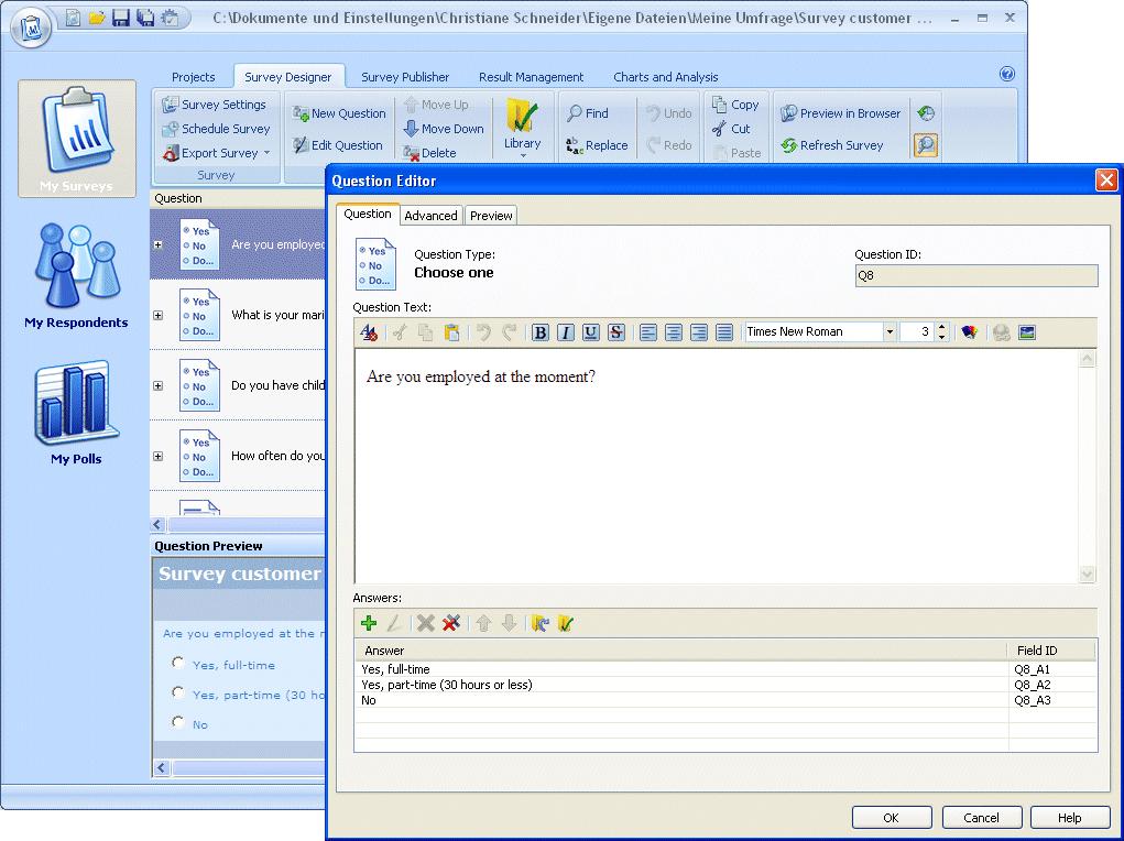 WinSurvey Screenshot