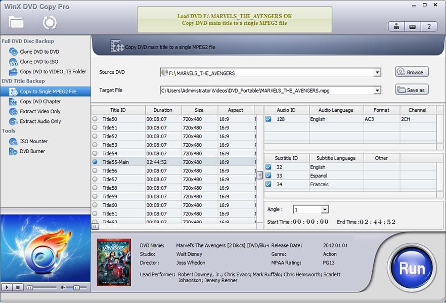 WinX DVD Copy Pro, DVD Copy Software Screenshot