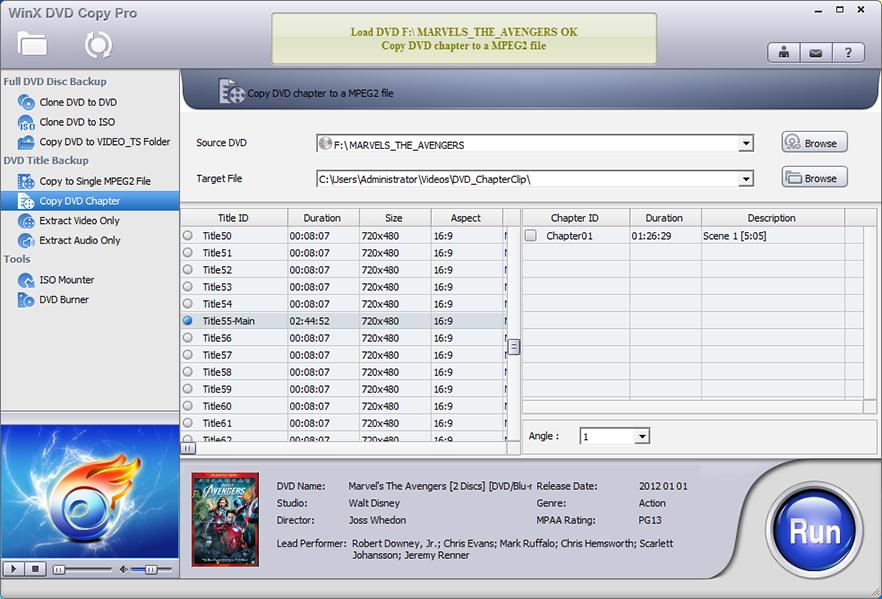WinX DVD Copy Pro, Video Software Screenshot