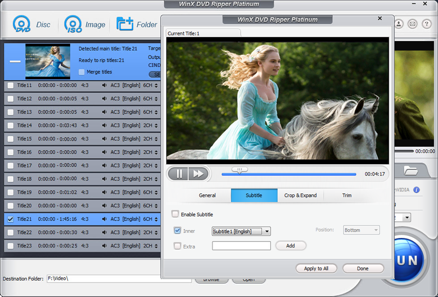 WinX DVD Ripper Platinum, DVD Ripper Software Screenshot