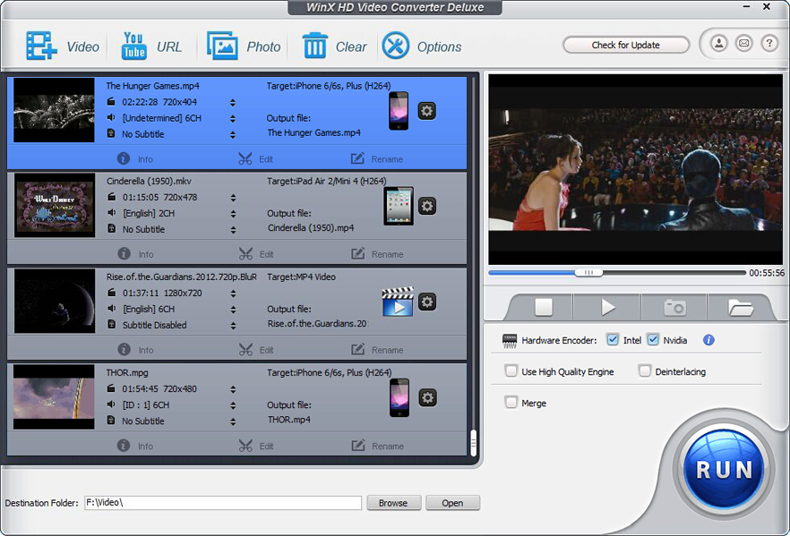 WinX HD Video Converter Deluxe Screenshot