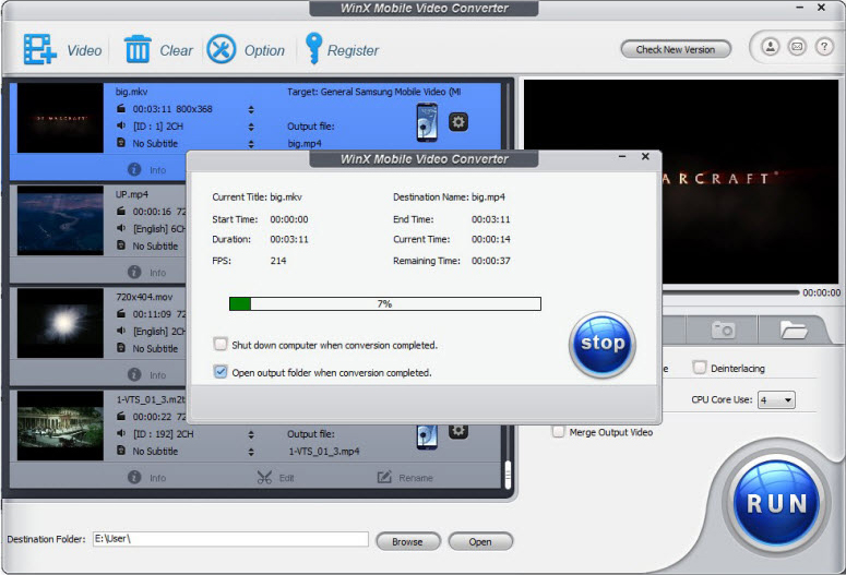 WinX Mobile Video Converter, Video Software Screenshot