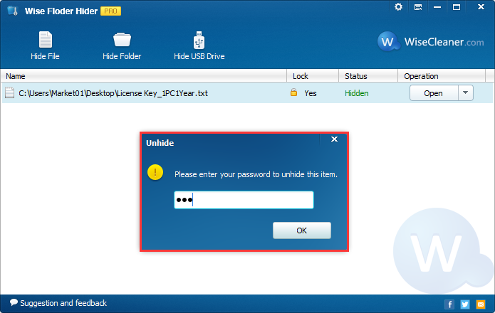 Security Software, Wise Folder Hider Pro Screenshot