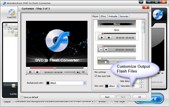 Wondershare DVD to Flash Converter, Video Converter Software Screenshot