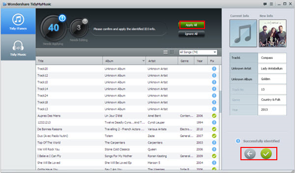 Wondershare TidyMyMusic for Windows, Audio Software Screenshot