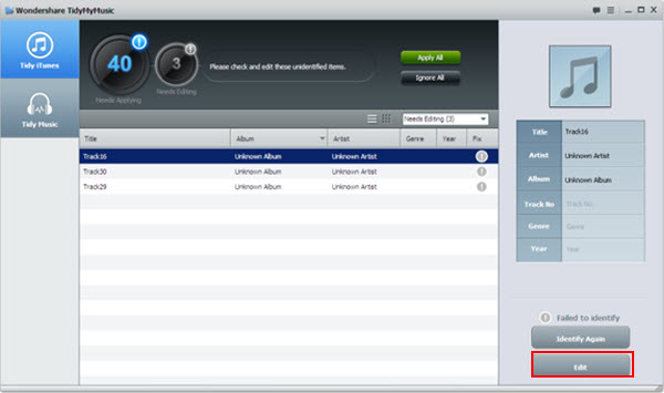 Music Software, Wondershare TidyMyMusic for Windows Screenshot