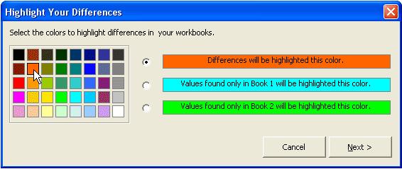 Excel Add-ins Software, Workbook Compare Screenshot