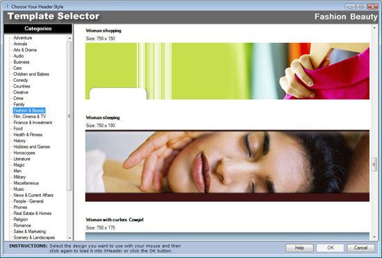 XHeaderPro, Website Builder Software Screenshot