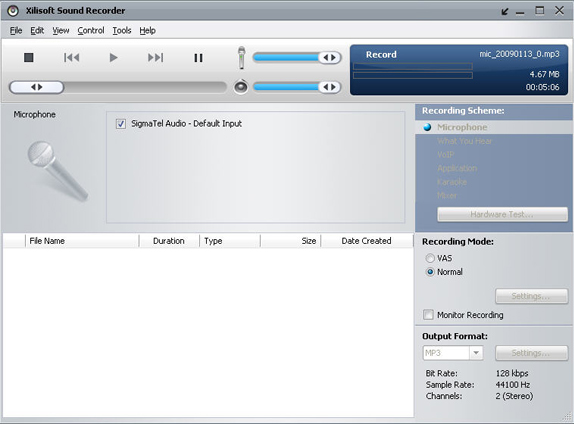 Xilisoft Sound Recorder Screenshot