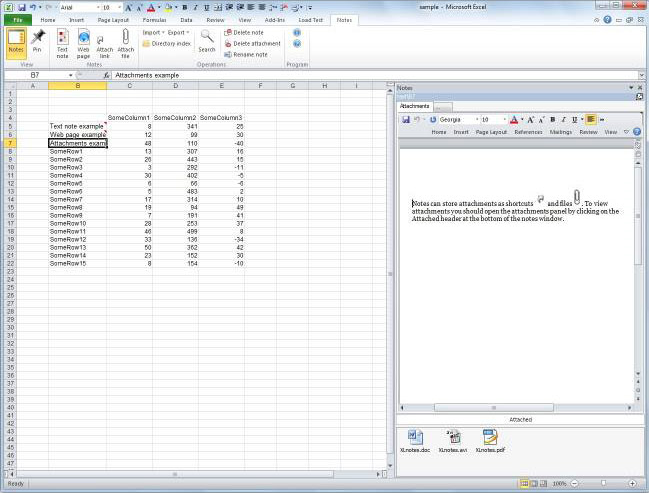 XLnotes, Excel Add-ins Software Screenshot