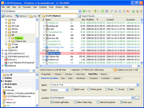 XYplorer, Software Utilities Screenshot