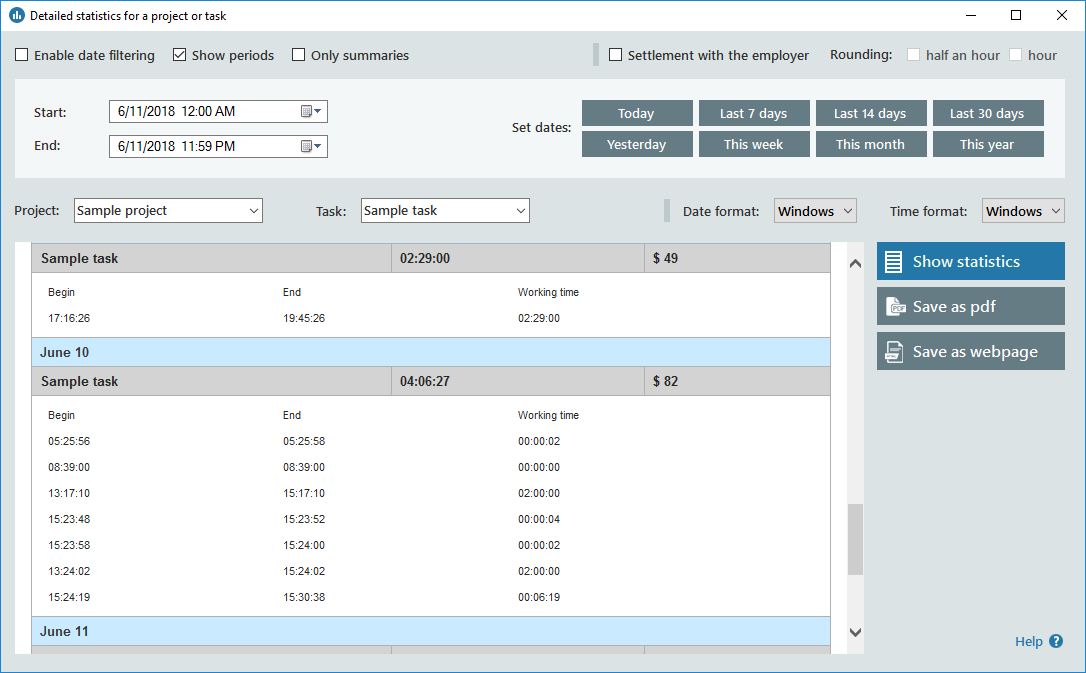 Productivity Software, Time Tracking Software Screenshot