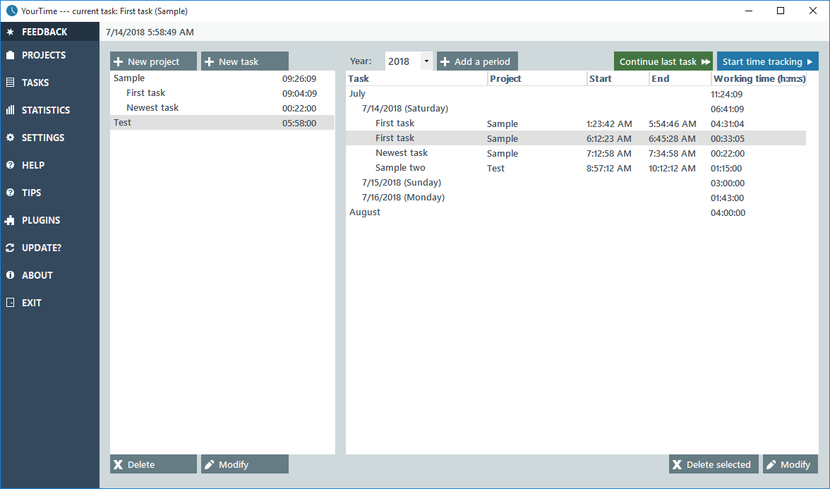 YourTime, Time Tracking Software Screenshot