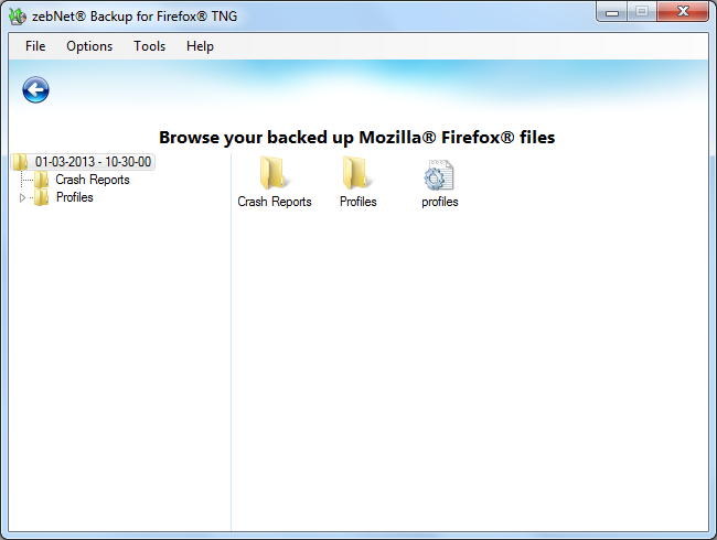 zebNet Backup for Firefox TNG, Security Software Screenshot