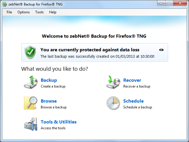 zebNet Backup for Firefox TNG Screenshot