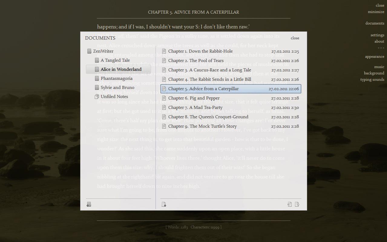 ZenWriter, Writing and Journaling Software Screenshot