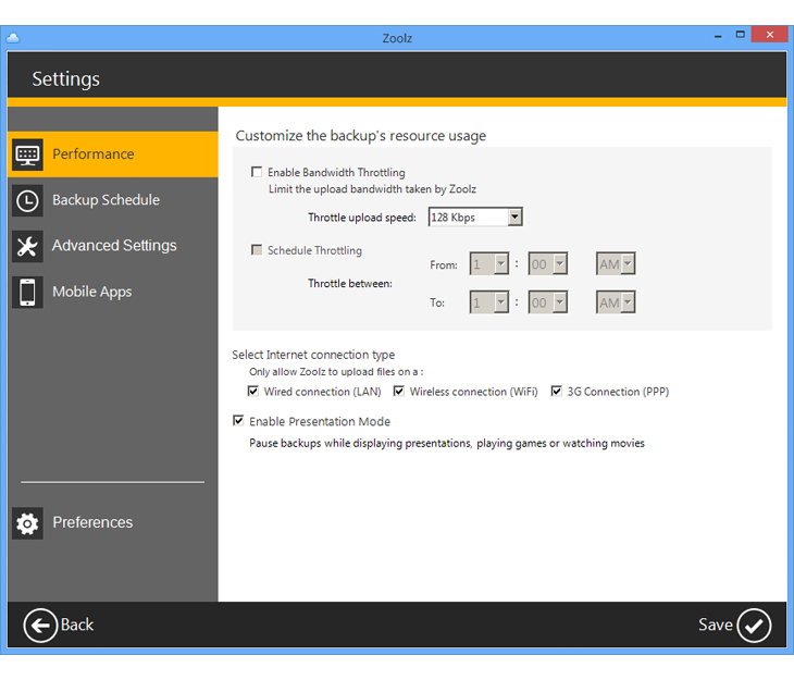 Backup Cloud Software, Zoolz home 1 TB Screenshot