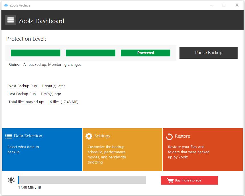 Zoolz Home 5TB Cold Storage, Backup Cloud Software Screenshot